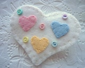 Felt Heart Brooch Button Candy Pin Valentines Day