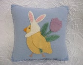 Pillow Felt Easter Chick In Bunny Ears Applique Penny Rug Primitive Felted Wool
