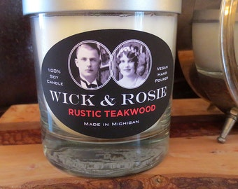 Rustic Teakwood Soy Candle - Wick & Rosie Collection - WR