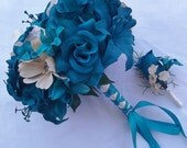 12 Pcs Package Teal Roses, Lillies & Cosmos Silk Wedding Bridal / Bridesmaids / Bouquet / Bouts / Corsage