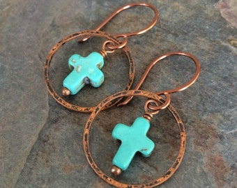 Turquoise and Copper Dangle Earrings, Turquoise Cross with Hammered Copper Ring Dangle Earrings
