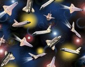 Quilting Treasures Fabric Space Shuttle FLYING HIGH Smithsonian-yardage
