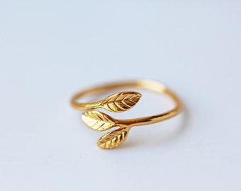 Gold Leaves Adjustable Ring Olive Leaves Dainty Modern Feminine Symbolises Peace Prosperity