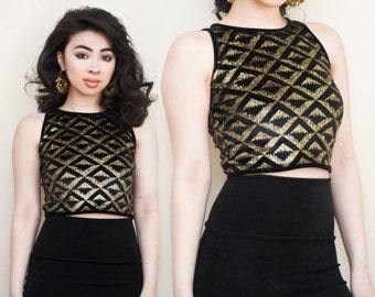 Gold Glitter Velvet Geometric Metallic Tank Crop Top XS S M L XL