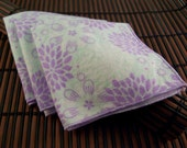 Medium Flankie - Barely Blue with Purple Flowers  Flannel Handkerchiefs - Set of 3