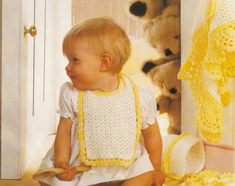 4 baby crochet patterns for the price of one! Shawl, bootees,bib and bonnet