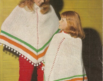 Simple ponchos crochet pattern for her and child