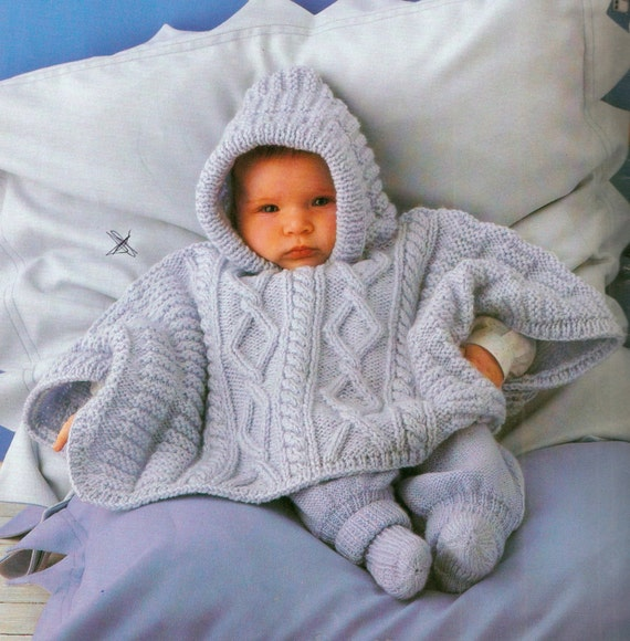 Knitting Pattern Baby Poncho With Hood : Babys hooded poncho knitting pattern. 3 by VBlittlecraftshop