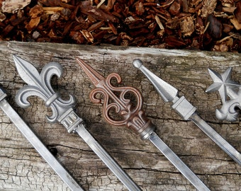 Beautiful Mixed Cast Iron Toppers on these FIVE Total ALL Metal Hose Guides