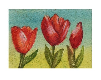 Three Tulips - Hand Painted Aceo Still Life