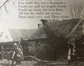 Vintage magic lantern slide illustrating the second verse of the hymn Rock of Ages