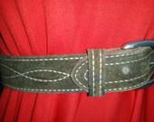 reserved for Holly Vintage Belt, Western Belt, Green Suede Belt, Suede Belt, Green Belt, Leather Belt, 60s Belt, Burcos, Bull Hide Belt