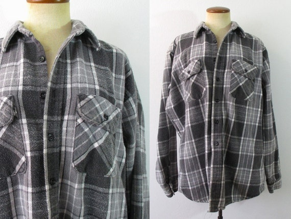 1970s flannel shirt plaid gray heavy weight lumberjack by for Heavy plaid flannel shirt
