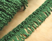 Vintage Green Looped Fringing - Green Trim Trimming - Green Braid - Vintage Green Fabric Trim