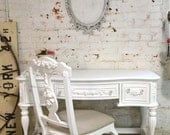 Painted Cottage Chic Shabby White Romantic French Reception Desk DK262