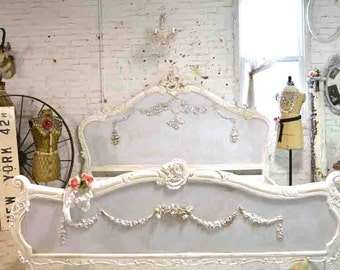 Painted Cottage Shabby French Romantic Bed Queen / King  BD716