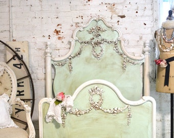 Twin / Double Bed Shabby Chic Painted Cottage Deluxe French Bed