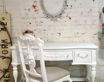 Painted Cottage Chic Shabby White Romantic French Desk DK262