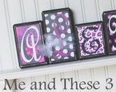 Wood letter name block - Custom to your style -Black white purple flower cheetah chevron polka dot girl