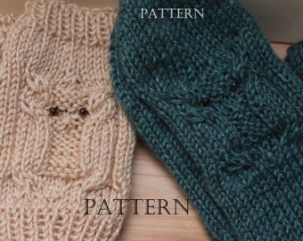 Horned Owl Fingerless Mittens and Mittens, Knit in the Round, Beaded Eyes, Pattern