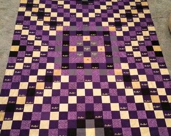 Custom Crown Royal Quilt, Quilts made with Crown Royal Bags, Purple and Gold Quilt