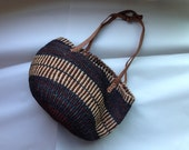 RESERVED.Boho Sisal Purse .1980s vintage largish african bag .leather straps .Gorgeous dark aqua and earthtones
