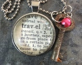 One Word Pendant with Vintage Key - Travel