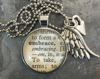 One Word Necklace with Charms- Embrace