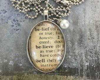 Oval One Word Pendant - Believe