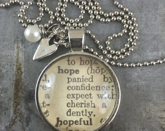 One Word Dictionary Necklace- Hope with Heart Charm