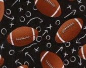 Timeless Treasures Black Football Novelty fabric by the yard