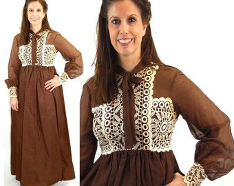 1960s maxi dress embroidered dress brown white empire waist high neck long sleeved boho dress Size M