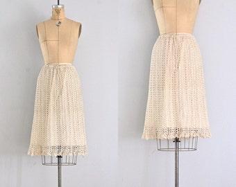 vintage 1960s skirt • crochet skirt • crochet 60s skirt • cream crochet skirt • large