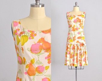 vintage 1950s dress • novelty print dress • day 50s dress • 1950s day dress • large
