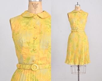 vintage 1960s dress • yellow dress • vintage 60s chiffon dress • 60s vintage dress