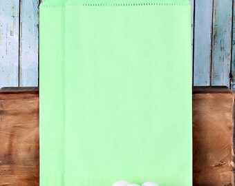 Lime Favor Bags, Green Paper Favor Bags, Large Treat Bags, Green Wedding Favor Bags, Candy Buffet Bag, Merchandise Bags (18 ct)