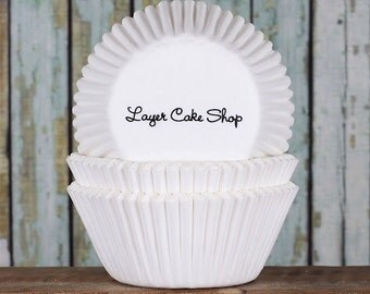 Plain White Cupcake Liners, White Cupcake Wrappers, Basic White Baking Cups, White Paper Cupcake Liners, White Muffin Cases (50)