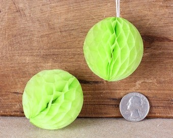 "Teeny Lime Honeycomb Balls, 2"" Honeycomb Ball, Lime Green Wedding Decorations, Lime Honeycomb Ball, Honeycomb Ball Straw Topper (6 ct)"