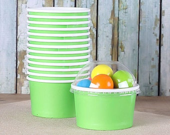 Small Lime Ice Cream Cups with Lids, Candy Favor Cups, Snack Cups, Cupcake Storage Cups, Wedding Favor Cups, Green Cups (4 oz - 18 count)