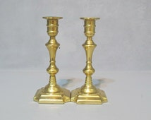 Vintage 2 Brass Candle Holders Elegant Pair Of Shiny