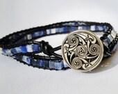 Sodalite and Leather Triple Wrap Bracelet
