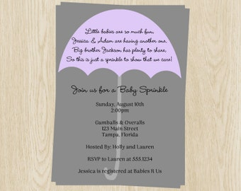 Baby Sprinkle Invitations, Expecting, Umbrella, Girls, Gray, Purple, Lavendar, 10 Printed Invites with Envelopes, Free Shipping, EASGL