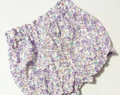Lavender High Waisted Shorts -Baby Toddler Girls Bloomers Shorties -Summer Birthday Pics Beach Birthday Gift- Vintage Floral -Top to Match