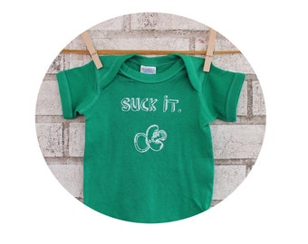 "Funny Baby One Piece, Pacifier With The Text ""Suck it."" Crude Humor, Kelly Green Cotton Baby Onepiece with Short Sleeves, Baby Shower Gift"