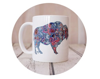Bison Coffee Mug, Wild Buffalo, Colorful, Southwestern Art, Sublimated Coffee Cup, Sublimated Ciramic Mug, 11 oz hot beverage container
