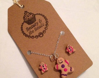 Fun Gingerbread lady nivelty necklace and stud earrings set bright purple and pink