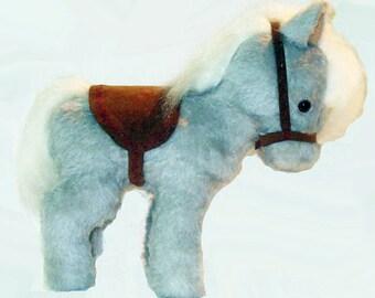 Plush Pony, heirloom pony, Croison heirloom pony  /Gray with White Mane and Tail