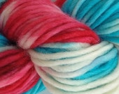 Bulky / Chunky Weight Hand Painted Wool Yarn Pencil Roving in Circus Tent 60 yards Hand Dyed Red White Aqua