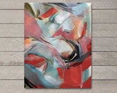Organic Abstract Red Black Tan Blue Watercolor Painting 2, Fine Art Print, Multiple Sizes Available