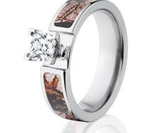 Mossy Oak Pink Break Up Engagement Camo Rings w/ 1 CTW 14k Setting: Pink Break Up-6F14G1PCTW